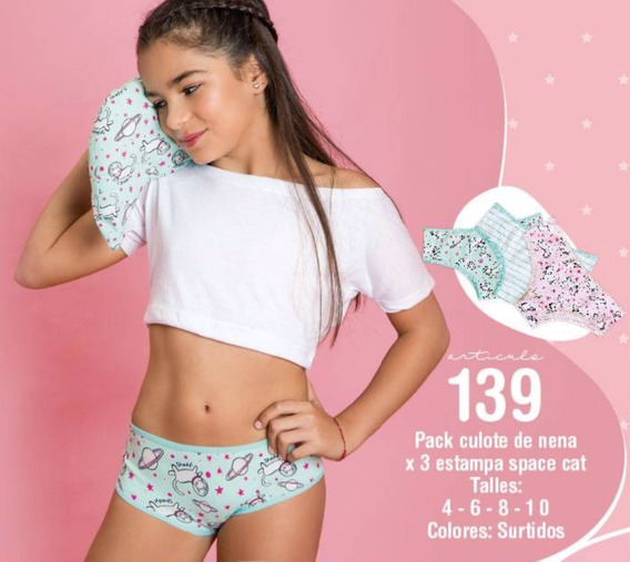 Pack Tres Culote Para Nenas Estampa Space Cat Shedyl 139