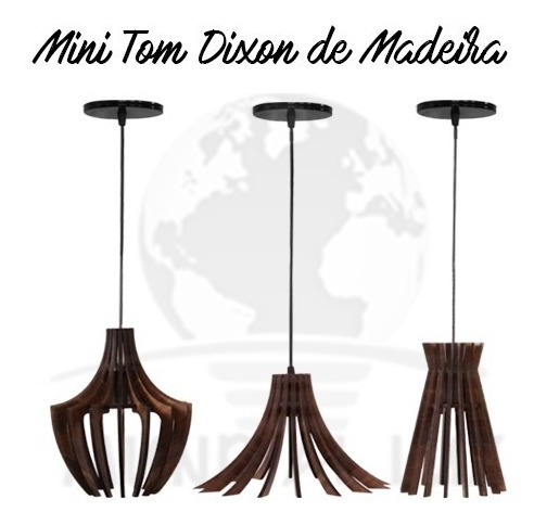 Kit 3 Pendentes Mini Tom Dixon De Madeira Tabaco