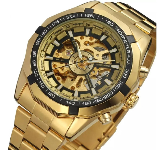 Relógio Esqueleto, Winner Forsining Automático,inox Dourado
