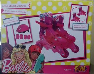 Patins Barbie 3 Rodas 29/32 Ajustavel C/acessorios Bonellihq
