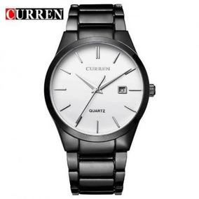 Relógio Masculino Curren Pulseira Preta Fundo Branco
