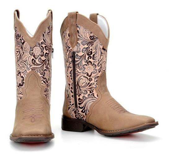 Bota Texana Feminina Bico Quadrado Couro Legitimo Bege Flor