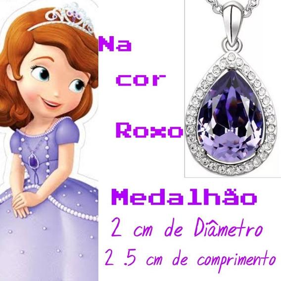 Colar Medalhão Amuleto Princesa Sofia Roxo Fantasia Cosplay