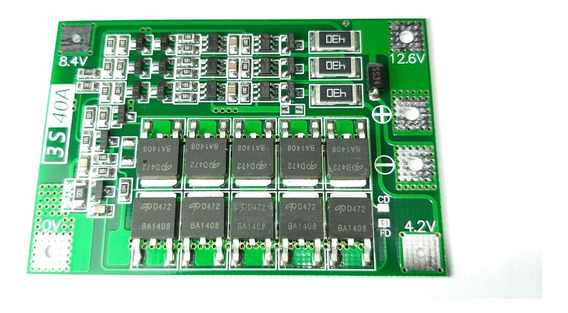 Placa De Proteção Bms 3s 40a Para Bateria Lipo Li-ion Com Balanceamento