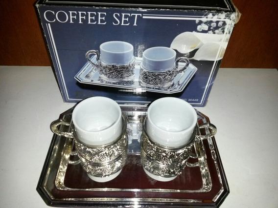 Set Café X 2 Tacitas Y Bandeja En Caja