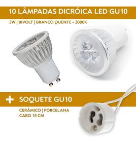 Kit 12 Lâmpadas Led Dicroica 3w Gu10 3000k + Soquete Gu10