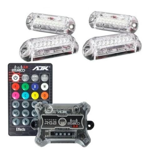Imagem 1 de 6 de Kit Strobo Ajk Luz Rgb Led 4 Faróis 7 Cores + Controle Full