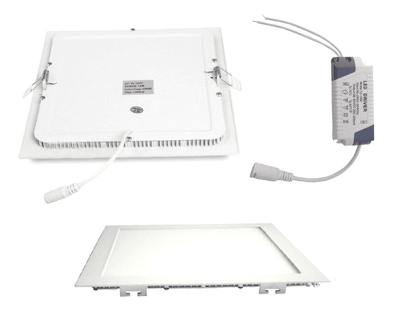 Kit 4 Painel Plafon Led Embutir Slim Quadrado 18w Branco Que