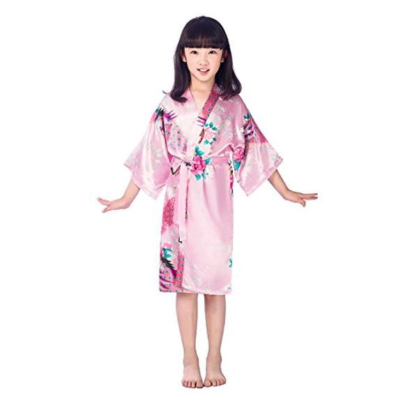 Yesky Niños Niñas Kimono Seda De Satén