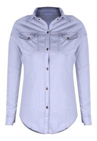 Camisa Jeans Manga Longa Descolada 6 Botões Lavagem Clara