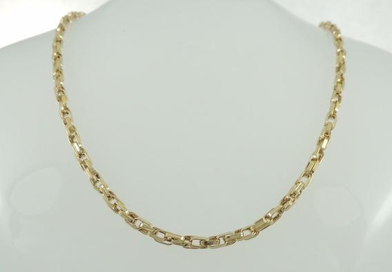 Corrente Masculino Cadeado Duplo 60cm Cordão Ouro 18k 750