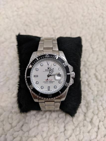 Relógio Masculino Rolex A Prova Dágua Prata Fundo Branco