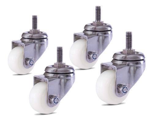 Imagem 1 de 5 de 4 Roda Aço Inox 50 Mm C/parafuso Rosca Sem Freio Roda Nylon