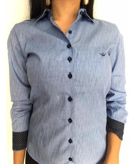 Camisas Feminina Manga Longa Algodão Com Elastano Dml Modas