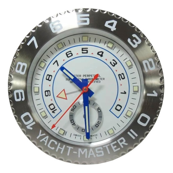 Relógio De Parede Decorativo Aço Inox Yacht Master Ii