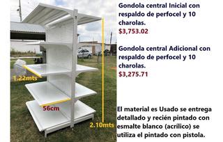 Gondola Central 122x56x210 Inicial Con Perfocel 10 Charolas