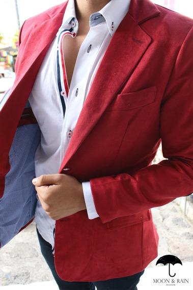 Blazer Slim Fit En Terciopelo Rojo Para Hombre