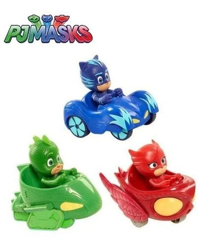 3 Carrinhos Roda Livre Pj Masks Menino Gato Corujita Lagarti