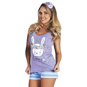 Pijama Feminino De Calor Adulto Verão Curto Roupa Dormir