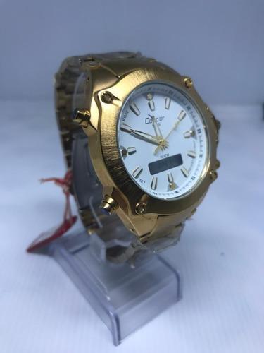 Relógio Condor Masculino Dourado Anadigi Kc15197/4b
