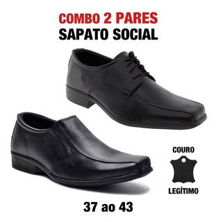 Kit 2 Sapato Social Masculino Couro Fox Muito Barato Oferta