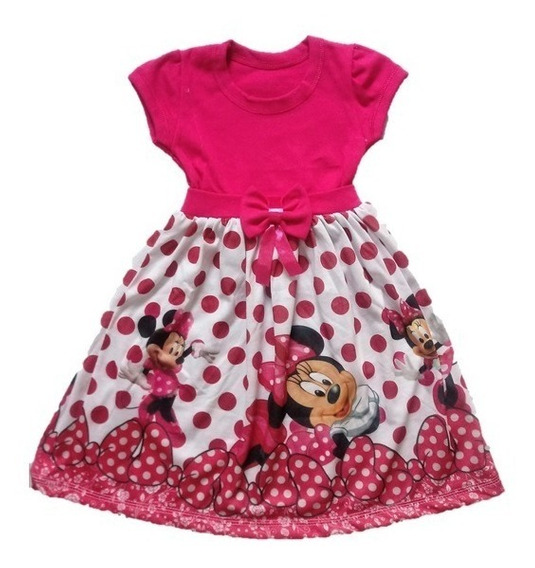 Vestido Infantil Minnie Mouse Rosa Malha Roupa/fantasia