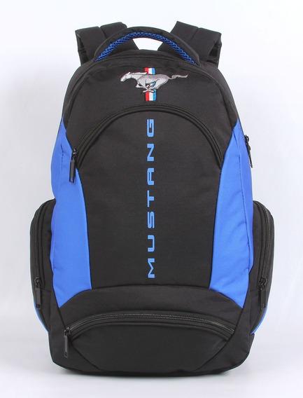 Mochila Grande Mustang Preta E Azul Dmw