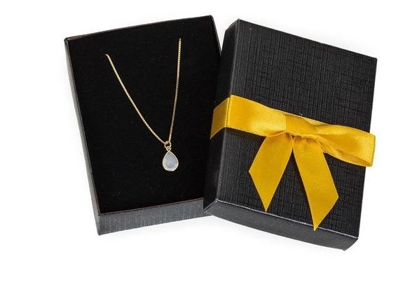 Colar Cordão Banhada Ouro 18k - Pedra De Gota Feminino - Ibi