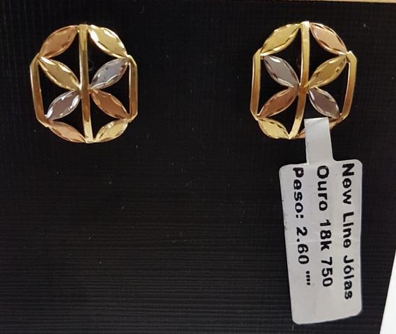 Brinco Em Ouro 18k 750 Com 3 Cores De Ouro Com 2,60g
