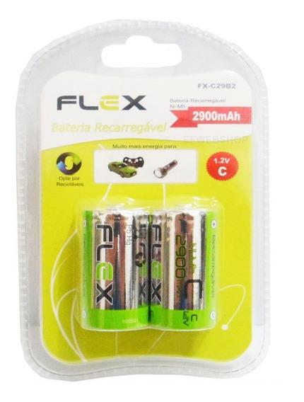 Pilha Recarregavel Tipo C Flex Media 1,2v 2900mah Com 2 Unid