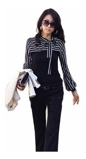 Tsuki Moda Japonesa: Blusa Dama Lineas Rayas Elegante Casual