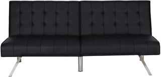 Sofa Convertidor Cama Negro Moderno Hogar