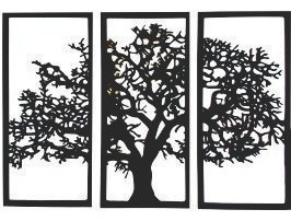 Quadro Árvore Da Vida 3 Peças Mdf Preto Decoração Parede