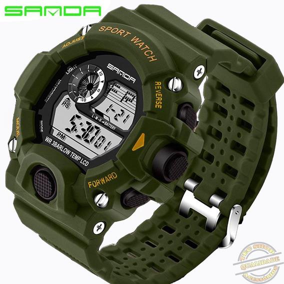 Relógio Masculino Sanda Verde Militar Digital A Prova D Água
