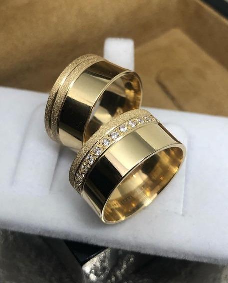 Aliança Noivado Em Ouro 18k 8,5mm 16g