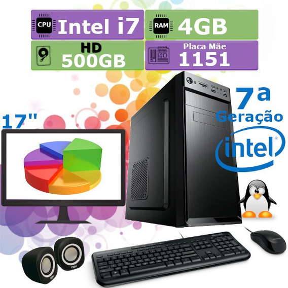 Pc Home 7ª Geração I7 7700 4gb Hd 500gb + Monitor 17