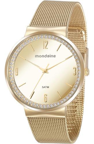 Relógio Mondaine Feminino Espelhado Dourado 76746lpmvde1