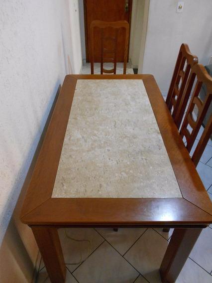 Mesa De Jantar Com 6 Cadeiras Tampo De Marmore