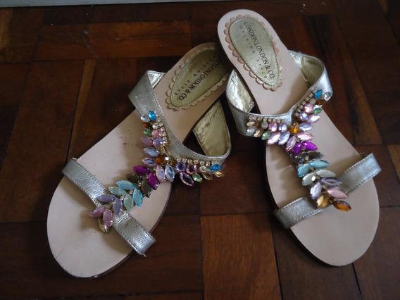 Sandália Rasteira Pedrinha Coloridas Tam35 Usada