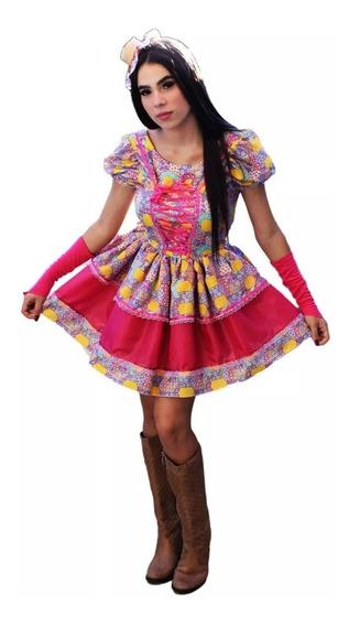 Vestido De Festa Junina Adulto Rosa Chique Com Luva E Fitas