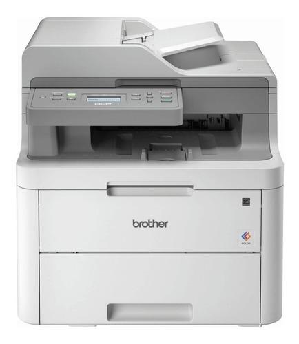 Impressora a cor multifuncional Brother DCP-L3 Series DCP-L3551CDW com wifi 110V - 120V branca e cinza