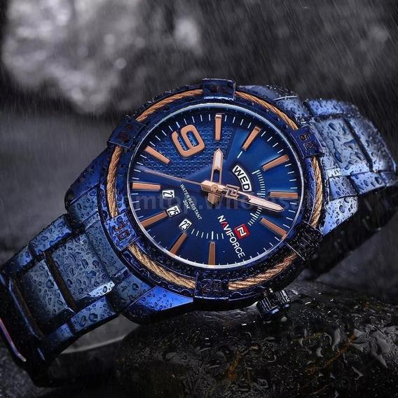Relógio Masculino Original Analógico Pulseira Em Aço Azul