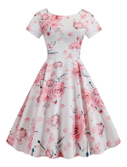 Vestido De Fiesta Retro Estampado Floral Para Mujeres S-2xl