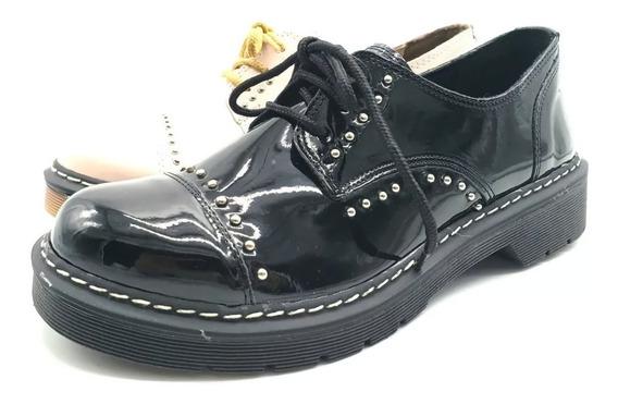 Zapatos Acordona Mujer Borcegos Cuero Ecologico Savage Doc6