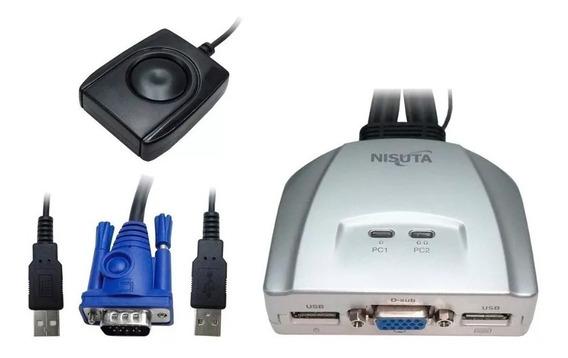 Controla Hasta 2 Pc Teclado + Mouse + Monitor Kvm Switch Loc