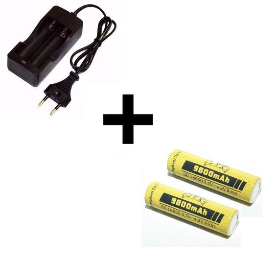 Kit Carregador Duplo + 02 Bateria Lítio 18650 4.2v 9800mah