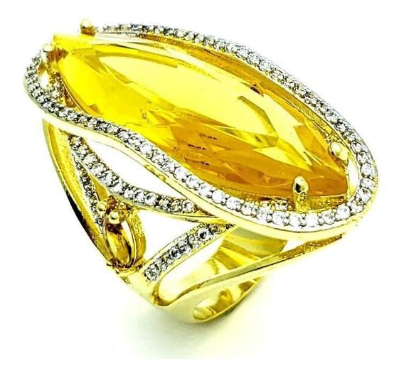 Anel Cristal Citrino Navete E Cravejado Banho Ouro 18k 4068