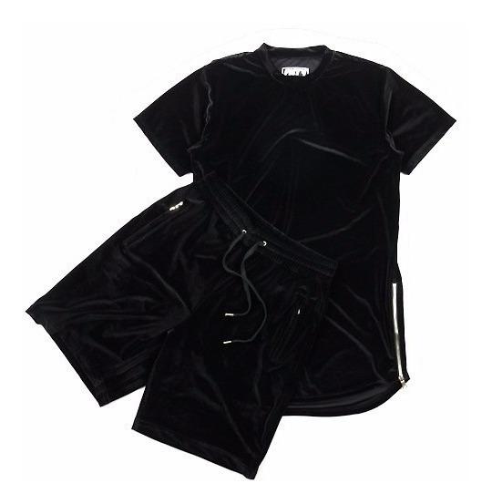 Conjunto Camiseta E Shorts Masculino Veludo Moda 2018