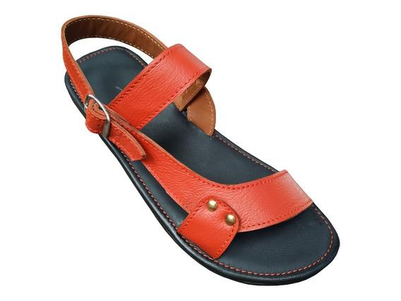Sandalias De Piel Para Descanso, Confortables, Dama, Rojo19