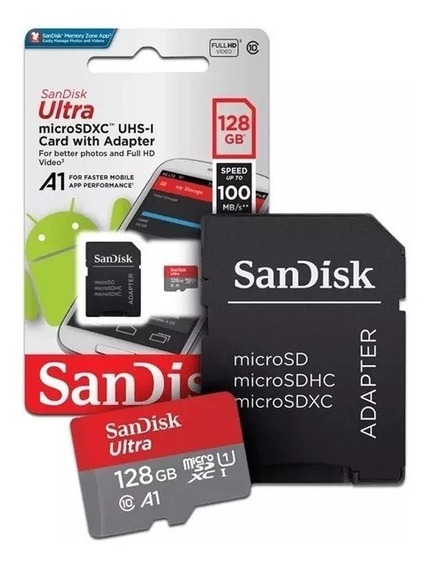 Cartão Memoria Microsd 128gb Sandisk Ultra 100mb/s Classe 10 Samsung Lacrado S8 S9 S10 Motorola Lg Asus Huawei Xiaomi